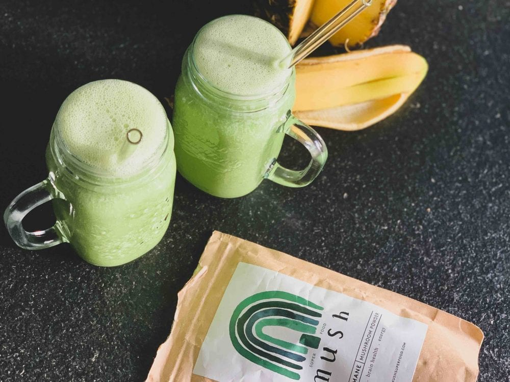 green pre-workout lion's mane smoothie
